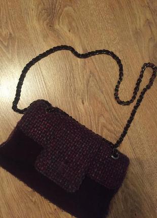 Стильная модная шикарная сумочка из твида