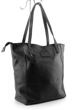 Кожаная женская сумка шоппер на плечо черная складная с длинными ручками