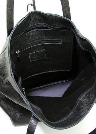Кожаная женская сумка шоппер на плечо черная складная с длинными ручками4 фото