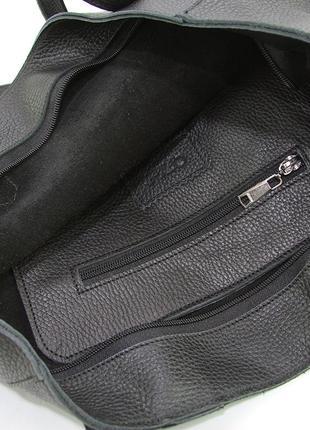 Кожаная женская сумка шоппер на плечо черная складная с длинными ручками5 фото