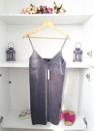 Xs/s велюровое платье бархатное сарафан на тонких бретелях bik bok119103 фото