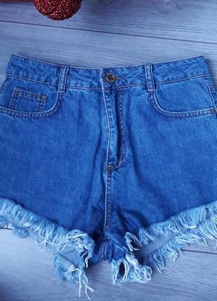 Обалденные короткие джинсовые шорты с завышенной талией  zara