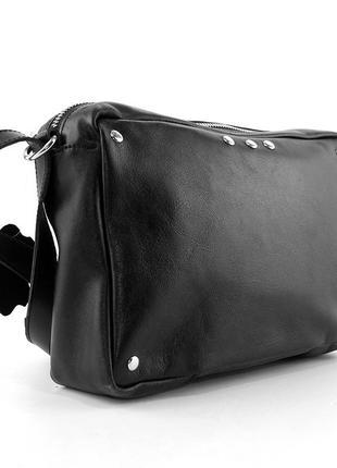 Кожаная маленькая сумка кроссбоди через плечо черная на молнии1 фото