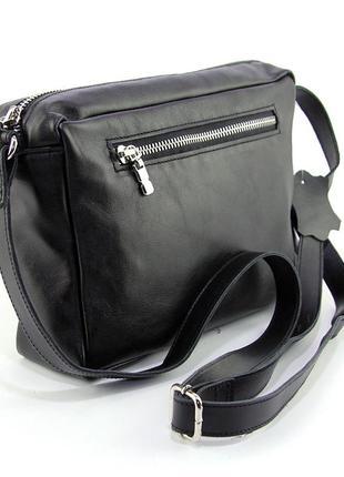 Кожаная маленькая сумка кроссбоди через плечо черная на молнии2 фото