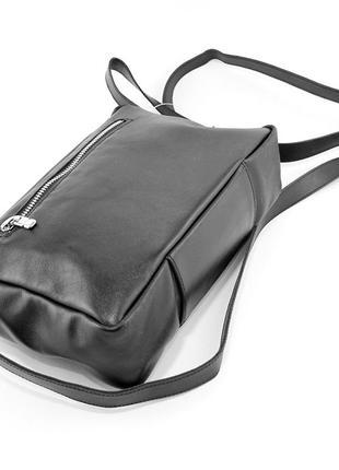 Кожаная маленькая сумка кроссбоди через плечо черная на молнии4 фото
