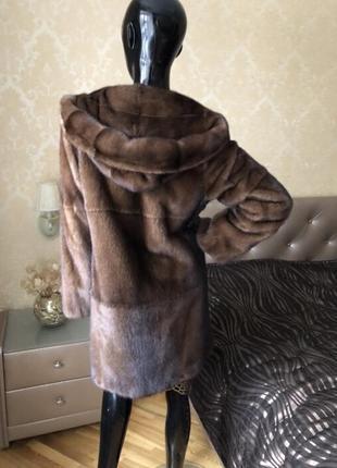 Норковая шуба с капюшоном antonio didone новая, соболь, 85 см, 42-442 фото