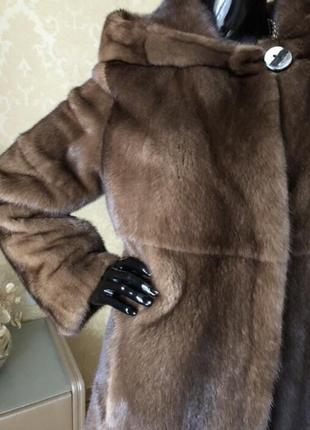 Норковая шуба с капюшоном antonio didone новая, соболь, 85 см, 42-443 фото