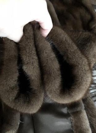 Норковая шуба с капюшоном antonio didone новая, соболь, 85 см, 42-445 фото
