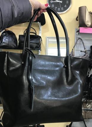 Кожаная сумка на плечо и в руку