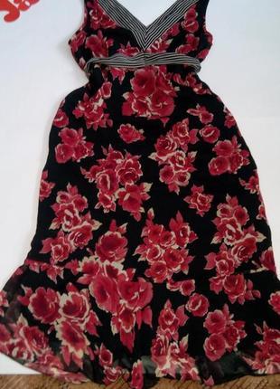 Платье сарафан бюстье розами миди 48 50 размер скидка топ лук скидка sale george3