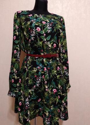 Стильное платье в цветочный принт label be!поясок в подарок!!!1 фото
