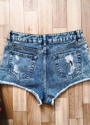 Нереальные завышенные шорты короткие джинсовые рваные3