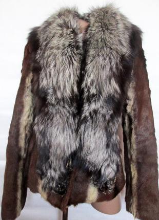 Шуба,шубка ,полушубок натуральный мех коза,козлик-чернобурка,лиса! 46-481 фото