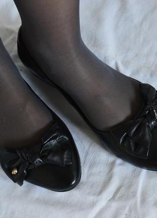 Черные балетки бантик, натуральная кожа, 23,5см