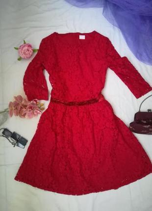 Нарядное, яркое красное платье1