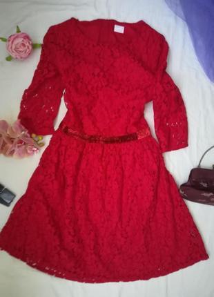 Нарядное, яркое красное платье2