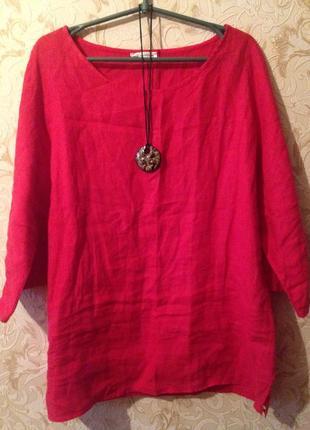 Кофта женская, блуза лен италия,туника льняная3
