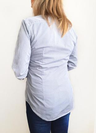 Голубая рубашка в полоску с белым воротничком ralph lauren2 фото