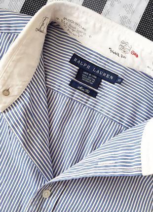 Голубая рубашка в полоску с белым воротничком ralph lauren4 фото