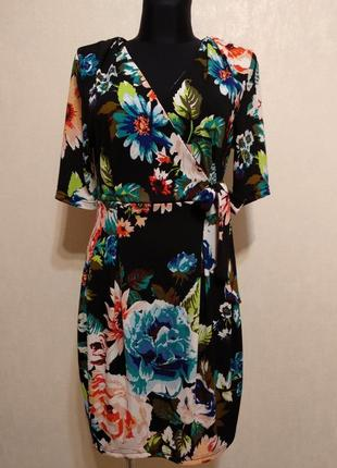 Яркое стильное платье на запах в цветочный принт с бантом h&m