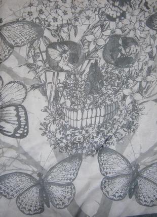 Большущий платок бабочка, птицы, фея, череп, цветы розы, перья3