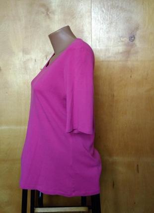 🌷 базовая сочная розовая футболка кофта трикотаж коттон р 18 / 52-54 m&s3