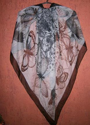 Большущий платок бабочка, птицы, фея, череп, цветы розы, перья1