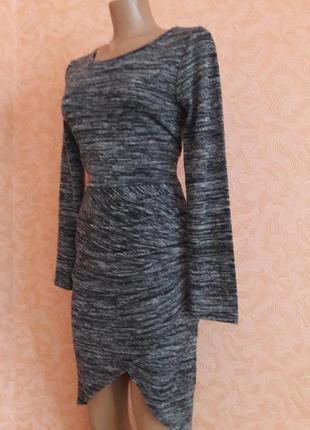Асимметричное меланжевое платье2 фото