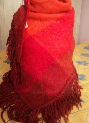 Шикарный большой мохеровый шарф  платок с шерстью1