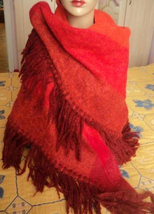 Шикарный большой мохеровый шарф  платок с шерстью2