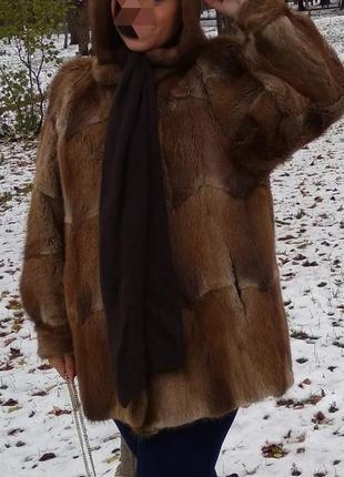 Шуба норковая манто из лесной норки норка +капор с норкой пояс  в подарок1