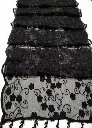 Черный ажурный шарф 27х 1882 фото