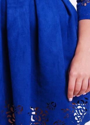 Расклешенное замшевое платье (42,44,46,48/5 цветов)3 фото
