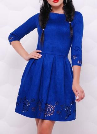 Расклешенное замшевое платье (42,44,46,48/5 цветов)1 фото