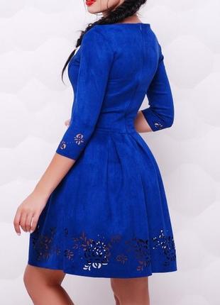 Расклешенное замшевое платье (42,44,46,48/5 цветов)2 фото