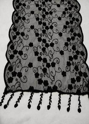Черный ажурный шарф 27х 1881 фото