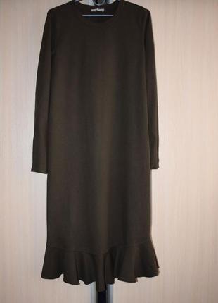 Платье миди с оборкой, хаки5 фото