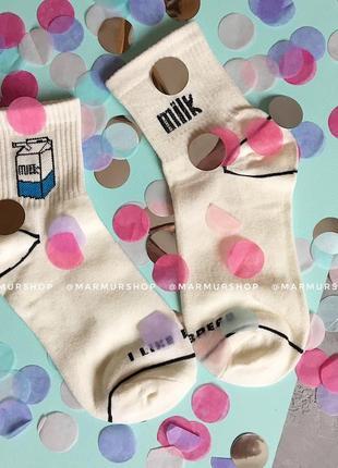 Крутые белые носки с молоком 35-39 рр3