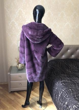 Норковая шуба fabio gavazzi с капюшоном, новая, кокон 46-48, пурпурная2 фото