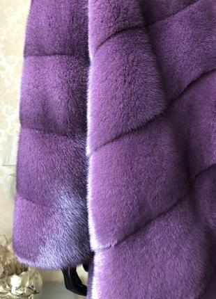 Норковая шуба fabio gavazzi с капюшоном, новая, кокон 46-48, пурпурная3 фото