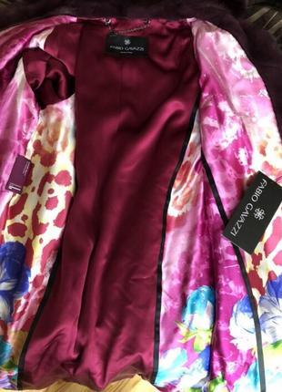 Норковая шуба fabio gavazzi с капюшоном, новая, кокон 46-48, пурпурная4 фото