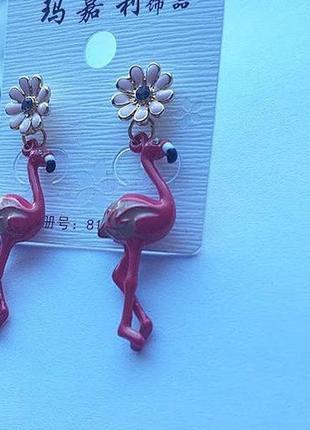 Серьги фламинго2 фото