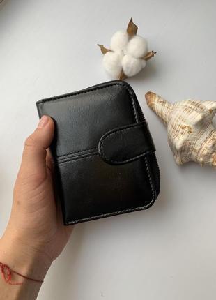 Элегантные небольшой женский кошелек черный глянец4