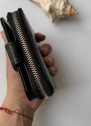 Элегантные небольшой женский кошелек черный глянец5