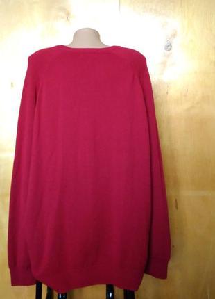 🌷 шикарный свитер джемпер кофта 100% шерсть ламы красная р. 24 / 58-60 m&s2 фото