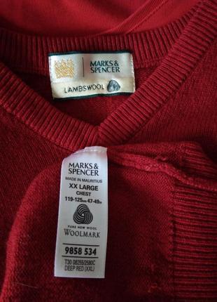 🌷 шикарный свитер джемпер кофта 100% шерсть ламы красная р. 24 / 58-60 m&s4 фото