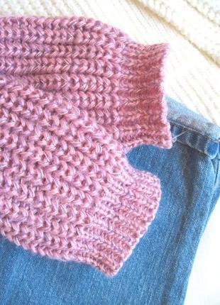 Трендовый шерстяной свитер крупной вязки оверсайз3
