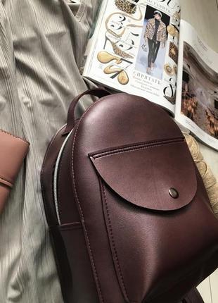 Бордовый рюкзак с кармашком3 фото