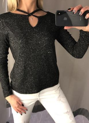 Серая флисовая кофточка мягкий лёгкий свитер. amisu. размеры уточняйте.1