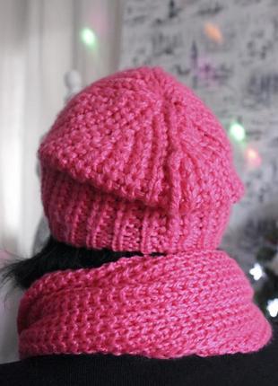Комплект ярко-розового вязаного шарфа и шапки от h&m4